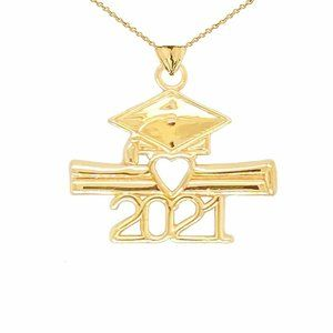 14K Real Gold Class of 2021 Graduation Cap Pendant